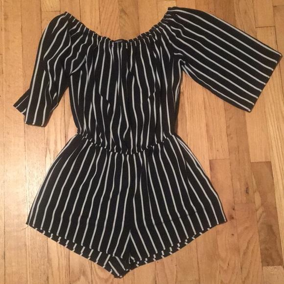 Ambiance Pants Black And White Striped Romper Poshmark